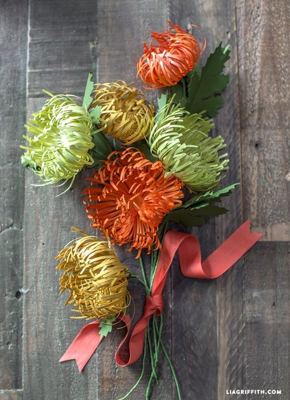 Хризантемы из цветной бумаги