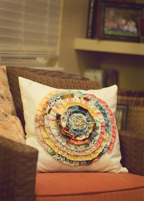 48-Fabric-Scrap-Rosette-Pillow
