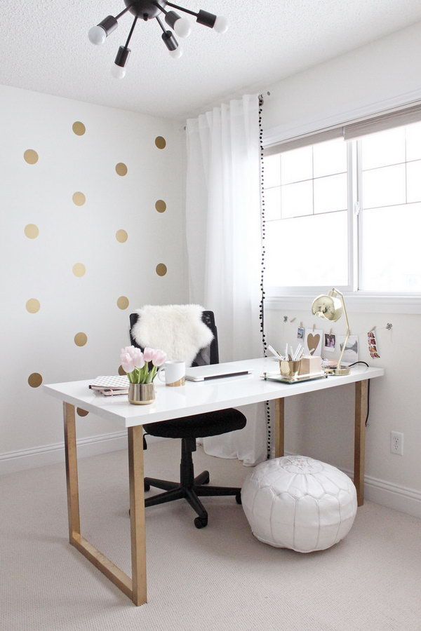 White And Gold Desk Under Desk Keyboard Mount