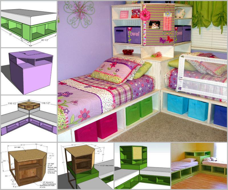 diy space saving corner twin beds set diycraftsguru