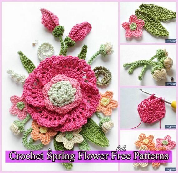 Awesome 3d Crochet Spring Flower Free Patterns Diycraftsguru