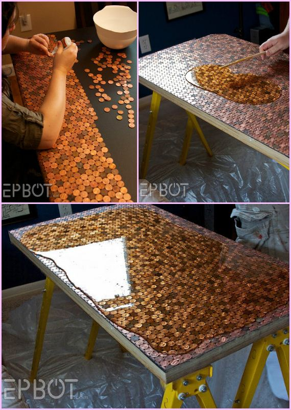 Diy Penny Table Using Epoxy Diycraftsguru