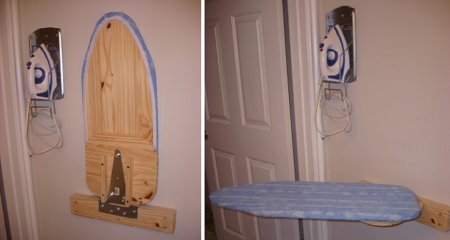 how to build drop down ironing board | Awesome DIY Wall Mounted Ironing Board - DIYCraftsGuru