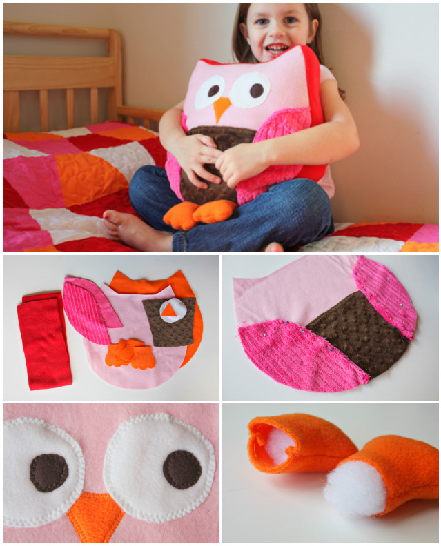 Cute Pillow Crafts : DIY Cute Fabric Owl Pillow - DIYCraftsGuru