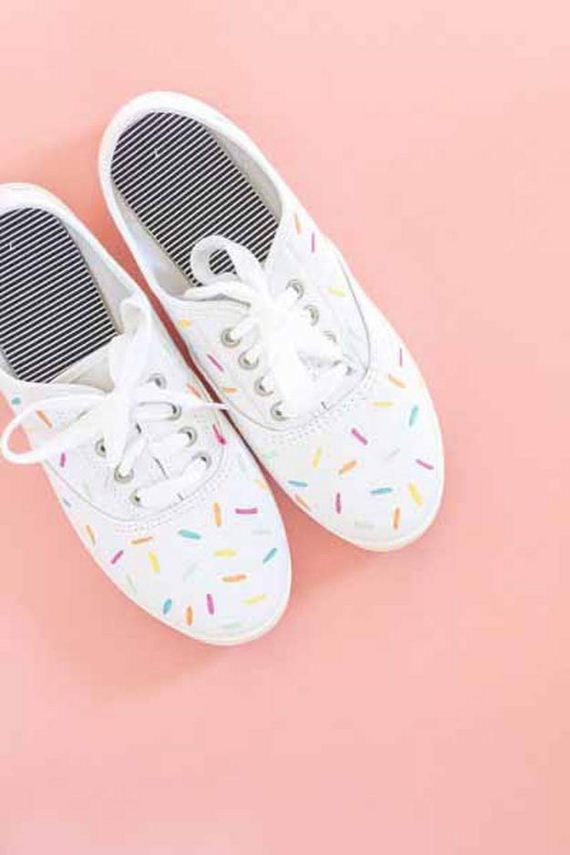 Covered With Rainbow Sprinkles These Ice Cream Sprinkle Sneakers Are So Cute Simply Add A Little Paint To Get This Awesome DIY Fashion For Yourself