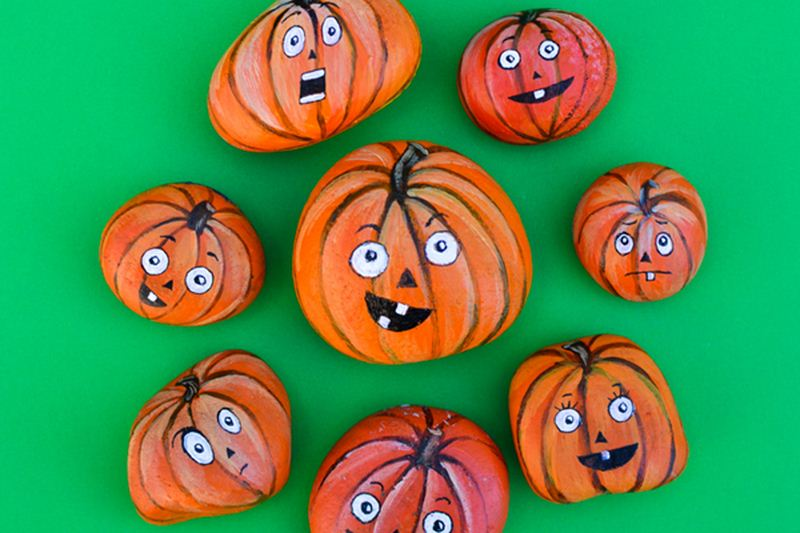 painted pumpkin rock craft awesome rock painting ideas for the diycraftsguru 5060