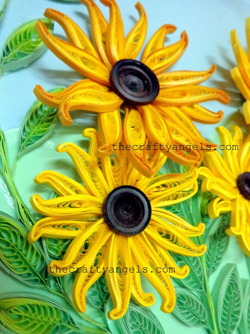 Cool floral paper quilling projects diycraftsguru 6 quilled sunflowers with button middles mightylinksfo
